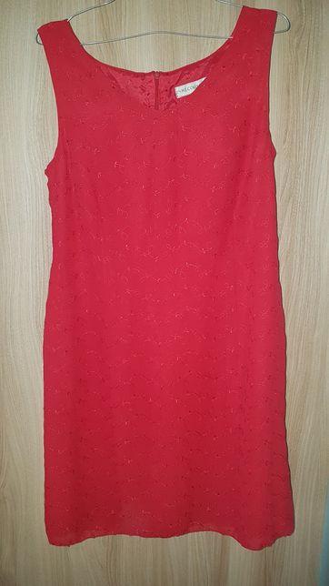 Czerwona sukienka wizytowa / elegancka rozmiar 40