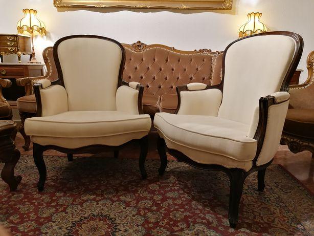 Par Clássicas Bergères (Cadeirões Poltronas Cadeiras braços) Luís XV