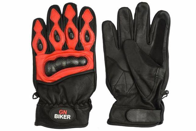 Rękawice motocyklowe czarno-czerwone roz: S,M,L i XL