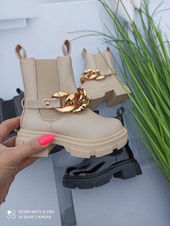 Botki kozaczki buty dla dziewczynki z łańcuchem 25-30