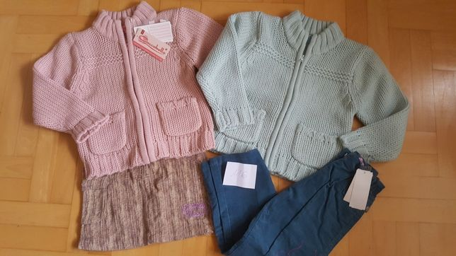 Komplet dla dziewczynki zestaw 116 sweterki spodnie spódnica sweter