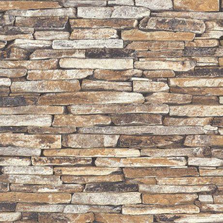 Tapeta na ścianę kamień łupek piaskowiec ścienna beż brąz