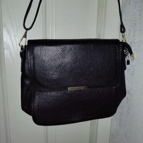Новая черная сумка натуральная кожа (кожаная сумка)