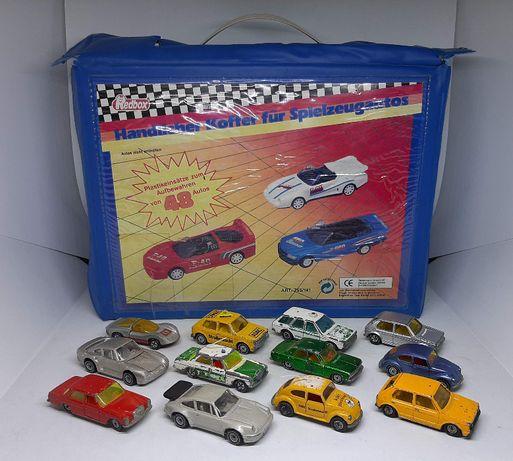 12 X SIKU W.GERMANY - zestaw VW, Audi, Mercedes, Porsche + WALIZKA