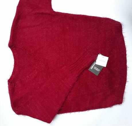DKNY Donna Karan Damski Sweter Czerwony Puszysty Mis Wlochacz Wlochaty