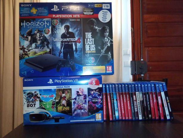 PlayStation PS4+PlayStation VR+19 jogos na Garantia.
