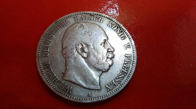 Oryginalna Srebrna Moneta 5 Marek - Rok 1876 / Wilhelm | Lit. / A /