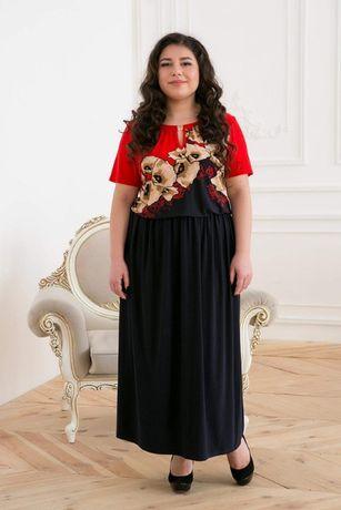 Длинное платье с красным принтом ЕЛЕНА темно-синее 56 размера