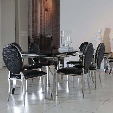 Jadalnia glamour Nero Lucido czarny stół krzesła