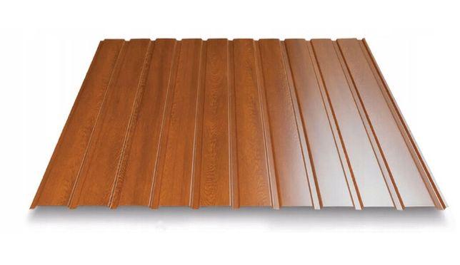 blacha trapezowa t7 podbitka dachowa elewacja złoty dąb orzech