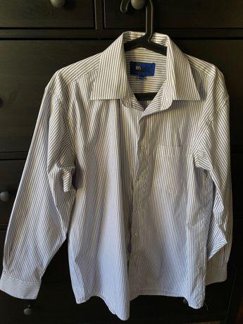 Elegancka koszula męska biała w paski 41/42 L