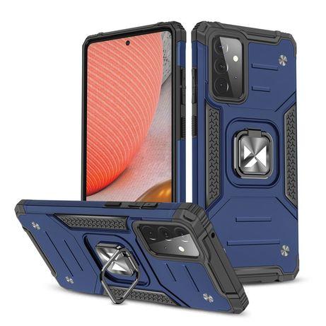 Capa Rígida/Semi Rígida Traseira Wozinsky Ring Case Kickstand Tough Rugged Cover Samsung Galaxy A72 4G Azul