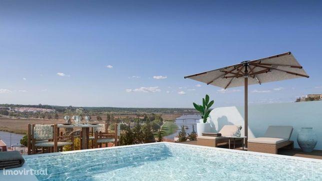 Moradia Geminada T2 com piscina e  vista panorâmica sobre o Rio Sado e