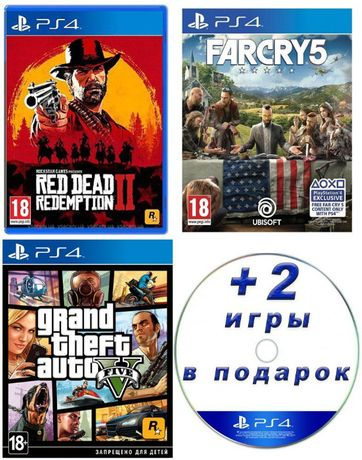 Red Dead Redemption 2 + Far Cry 5 + Grand Theft Auto V + 2 игры
