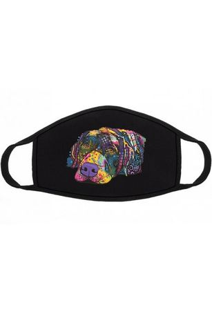 Maska maseczka ochronna czarna pies labrador