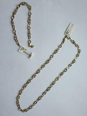 Złoty komplet - łańcuszek z bransoletką