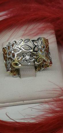 złoty pierścionek wzór w kwiatki ażur piękny próba 585