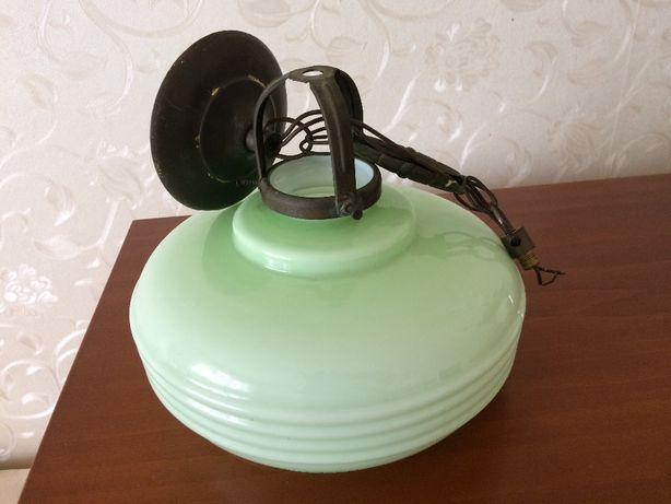Piękna stara wisząca lampa art deco średnica klosza 22 cm - antyk