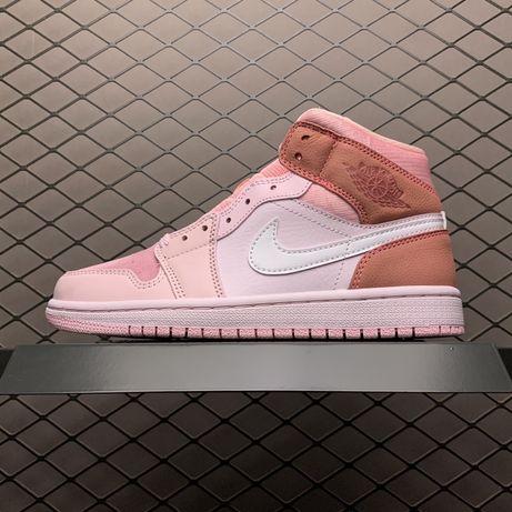 Кроссовки Nike Air Jordan 1 Mid Digital Pink женские джорданы розовые