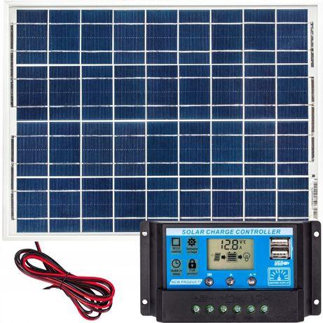 Zestaw słoneczny 40W na Działkę Kamper Panel solarny + Regulator