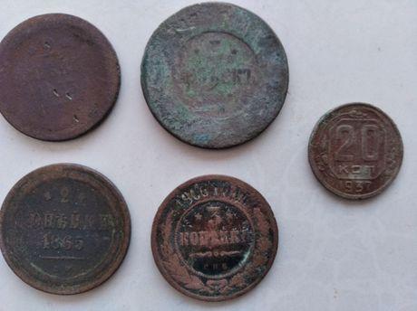 Медные царские монеты копейки - 2,3,5