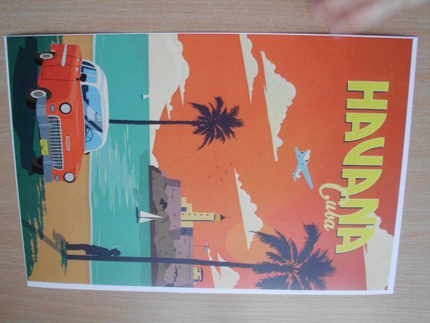 Hawana, Florencja, Kair- Podróże - Retro plakat do wystroju wnętrza
