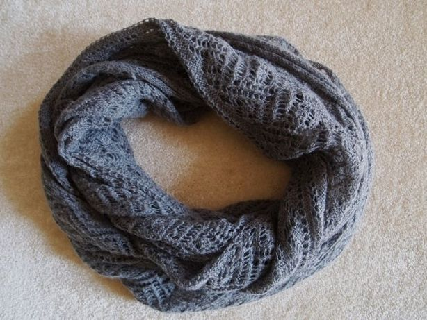 Szary ażurowy komin H&M szal szalik ciepły duży na jesień zimę siwy