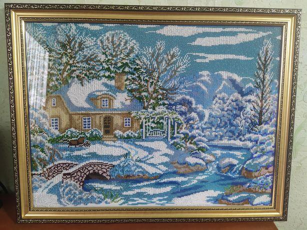 Картина бисером , зима .