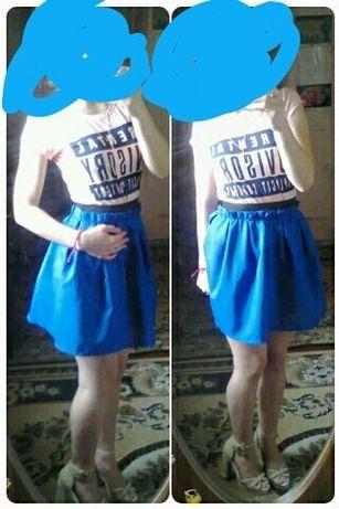 Юбка синяя габардин пышная женская подростковая