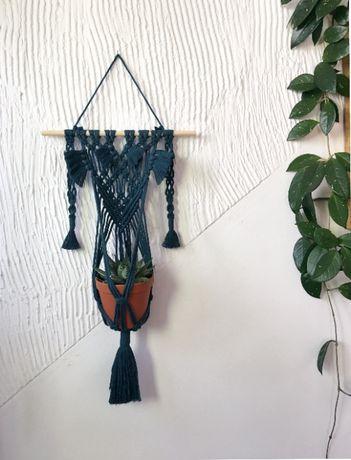 Morski Kwietnik wiszący / Makrama na kwiaty / Boho makrama / prezent