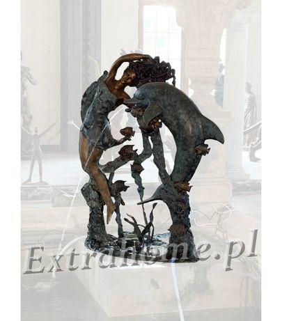 Fontanna z brązu - kobita z delfinem. Figura Fontanna ogrodowa H:200cm