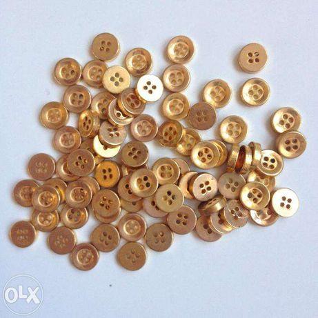Guziki złote metalowe 7 mm 50 sztuk