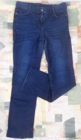Granatowe jeansy jeans dżinsy wysoki stan 14 42 prosta nogawka