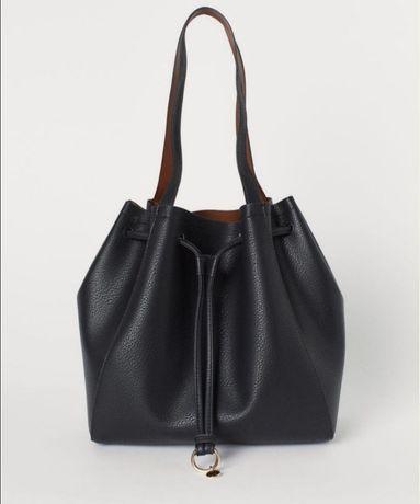 Czarna torebka worek H&M listonoszka