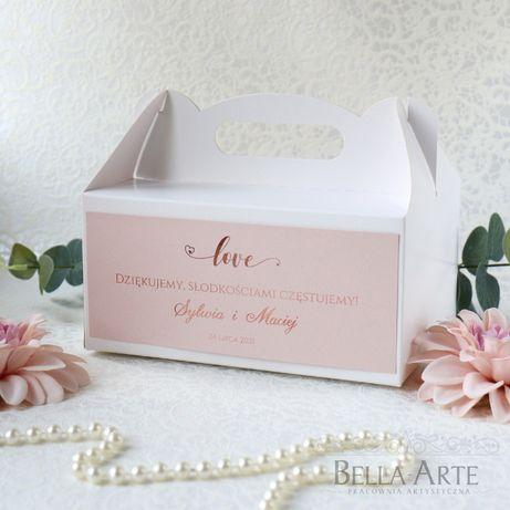 Pudełko pudełka na ciasto weselne opakowanie ślub podziękowanie gości