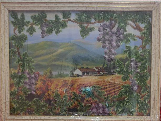 Картина природа ( гори , виноград , поле)