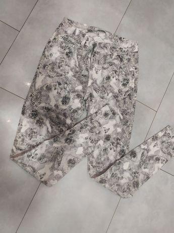 Spodnie rurki jeansy wzorzyste wężowe S 36