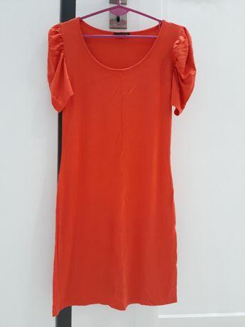 Sukienka mini pomarańczowa tunika bufki krótki rękaw S 36