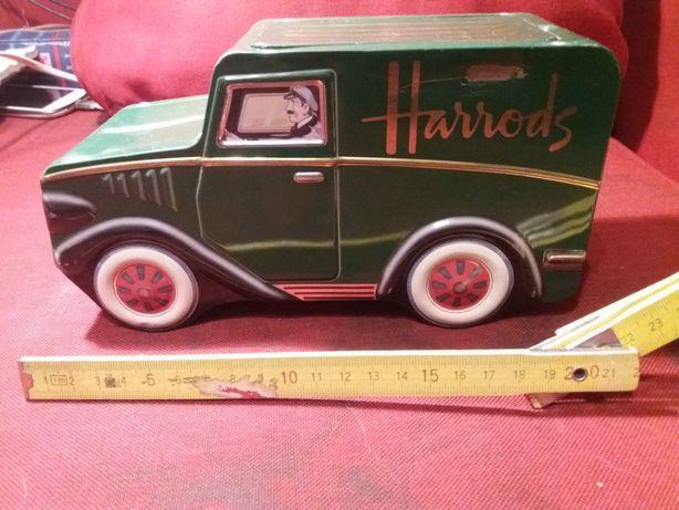 Super blaszany samochód po herbacie Harrods (jako pudelko)
