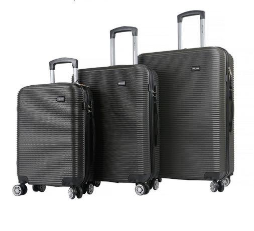 1071 Zestaw klasycznych walizek podróżnych XL+L+M czarne lekkie na