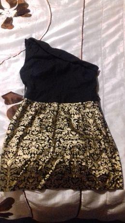Sukienka czarno złota jedno ramię hiszpanka