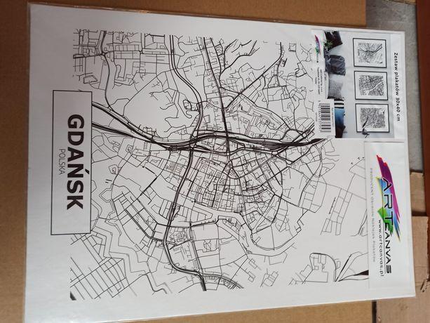 Obraz dekoracja plan miasta Gdańsk Warszawa