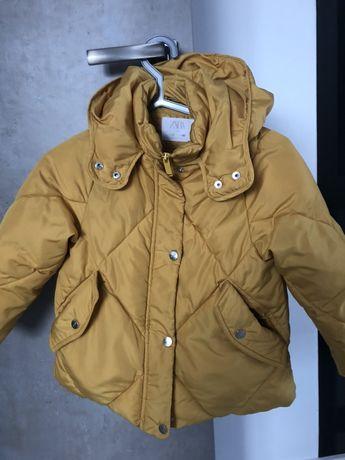 Zara kurtka zimowa 128 zólta rekawiczki gratis
