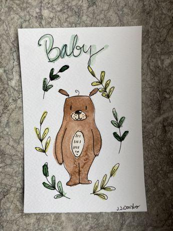Kartka okolicznościowa miś teddy boho baby shower chrzest