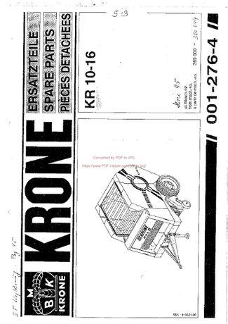 katalog części Prasa Krone 10-16, 1996r