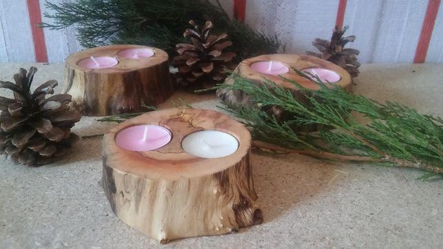 Для декора. Подсвечники из дерева