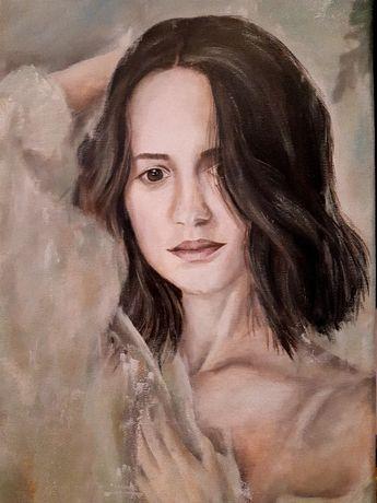 Portret kobiety obraz ręcznie malowany