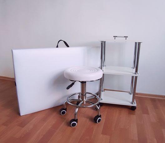 Кушетка + стул + тележка (набор для мастера наращивания ресниц и тд)