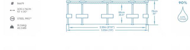BASEN Stelazowy ogrodowy 305 cm - 4700 litrow Zestaw + Pompa