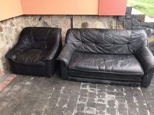 Мягкий уголок шкіряний +крісло